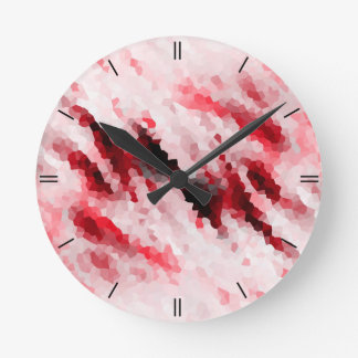 Crystal Pink Polygon Structure Round Clock