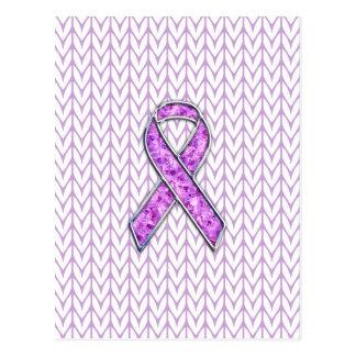 Crystal Pink Ribbon Awareness Knitting Postcard