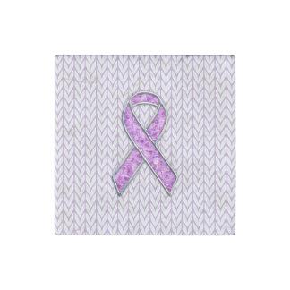 Crystal Pink Ribbon Awareness Knitting Stone Magnet