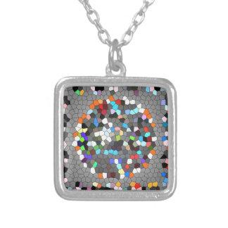 Crystal Pixels Dots Art Square Pendant Necklace