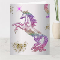 Crystal Rainbow Unicorn Card