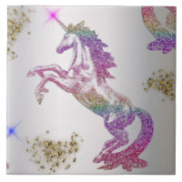 Crystal Rainbow Unicorn Ceramic Tile