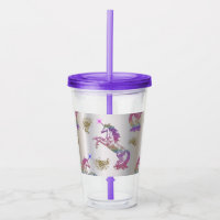 Crystal Rainbow Unicorns Acrylic Tumbler