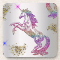 Crystal Rainbow Unicorns Beverage Coaster