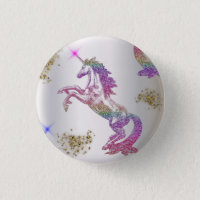 Crystal Rainbow Unicorns Button