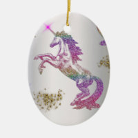 Crystal Rainbow Unicorns Ceramic Ornament