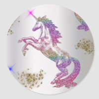 Crystal Rainbow Unicorns Classic Round Sticker