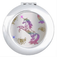 Crystal Rainbow Unicorns Compact Mirror