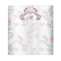 Crystal Rainbow Unicorns Monogrammed Notepad
