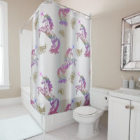 Crystal Rainbow Unicorns Shower Curtain