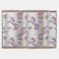 Crystal Rainbow Unicorns Throw