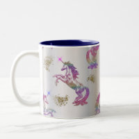 Crystal Rainbow Unicorns Two-Tone Coffee Mug