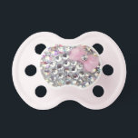 "Crystal Rhinestone With Classy Bow Pacifier<br><div class=""desc"">A binky with a little style.</div>"