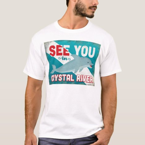 Crystal River Dolphin - Retro Vintage Travel T-Shirt
