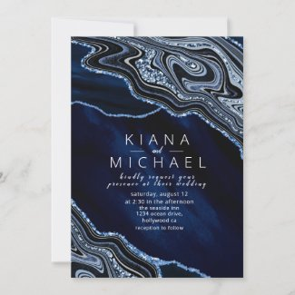 Abstract Navy Blue Wedding Invitation with Marbled Agate