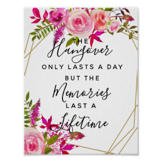 Crystal Roses Watercolor hangover party wedding Poster