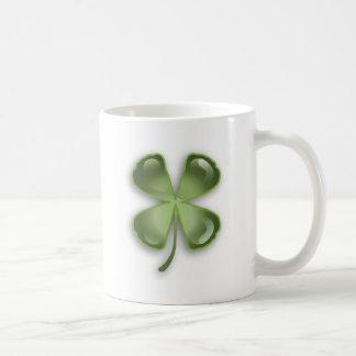 Crystal Shamrock Classic White Coffee Mug