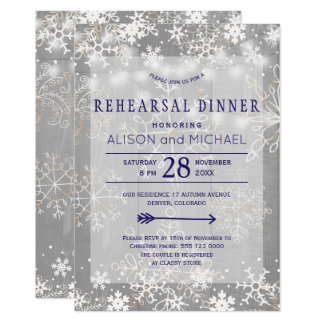 Crystal silver snowflakes winter rehearsal dinner card