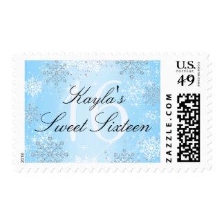 Crystal Snow Winter Wonderland Sweet 16 Stamp