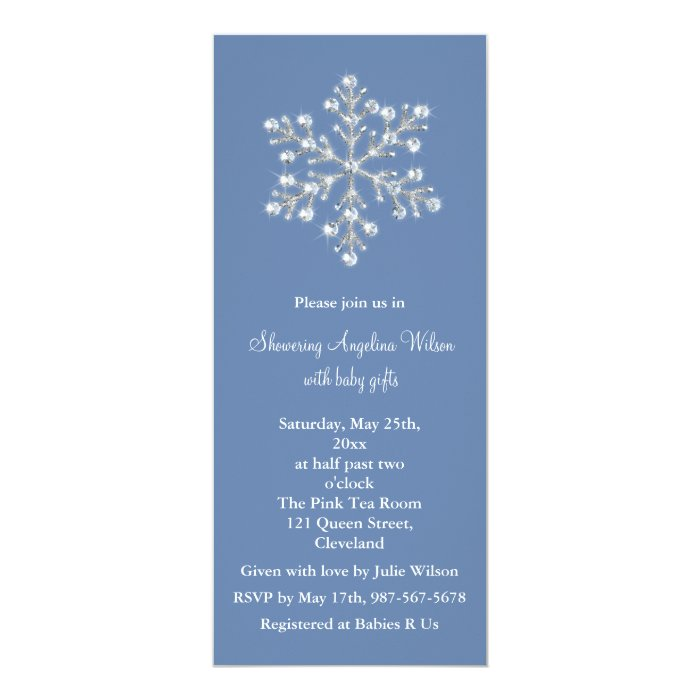 Crystal Snowflake Baby Shower Invitation (blue)