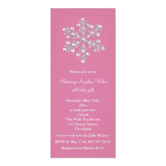 Crystal Snowflake Baby Shower Invitation (pink)