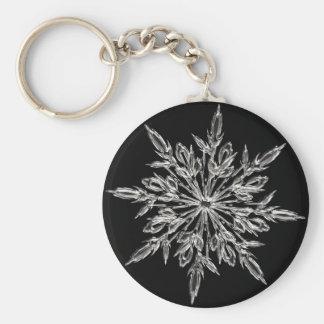 Crystal snowflake basic round button keychain