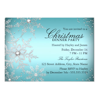 Crystal Snowflake Blue Christmas Dinner Party Card