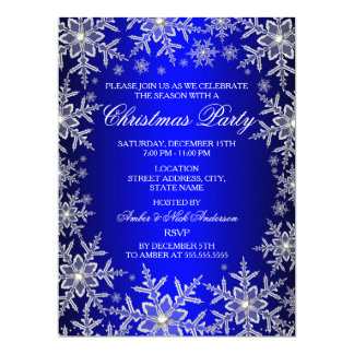 Crystal Snowflake Blue Christmas Party Invite