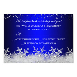Crystal Snowflake Blue Christmas Party RSVP Card