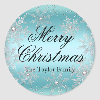 Crystal Snowflake Blue Christmas Sticker