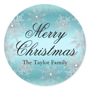 Christmas Themed Crystal Snowflake Blue Christmas Sticker
