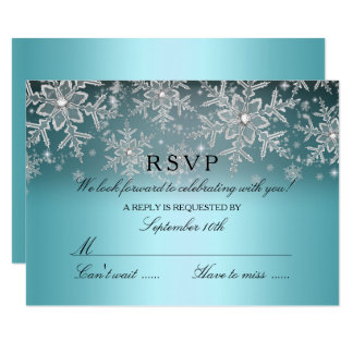 Crystal Snowflake Blue Winter RSVP Invitation