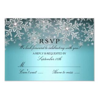 Crystal Snowflake Blue Winter RSVP 3.5x5 Paper Invitation Card