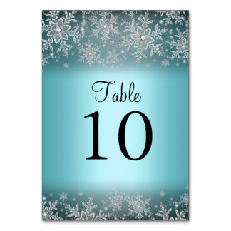 Crystal Snowflake Blue Winter Table Number Card