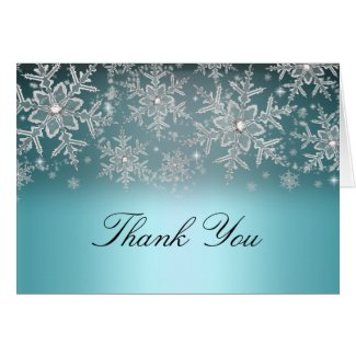 Crystal Snowflake Blue Winter Thank You Card