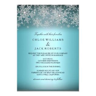 Crystal Snowflake Blue Winter Wedding Invitation at Zazzle
