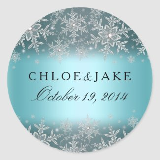 Crystal Snowflake Blue Winter Wedding Sticker