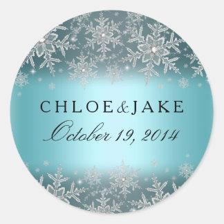 Crystal Snowflake Blue Winter Wedding Sticker