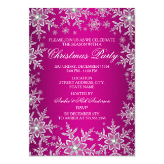 Crystal Snowflake Hot Pink Christmas Party Invite
