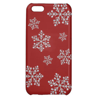 Crystal Snowflake iPhone 5C Case in red