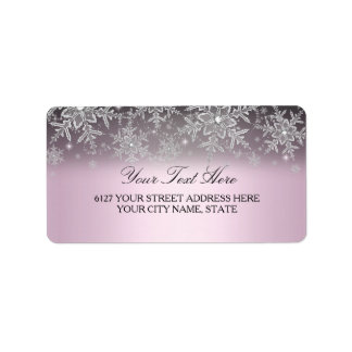 Crystal Snowflake Pink Winter Address Label