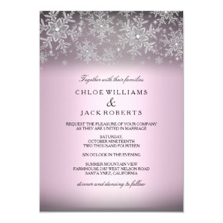 Crystal Snowflake Pink Winter Wedding Invitation