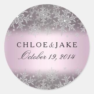 Crystal Snowflake Pink Winter Wedding Sticker