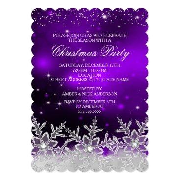 Christmas Themed Crystal Snowflake Purple Christmas Party Invite