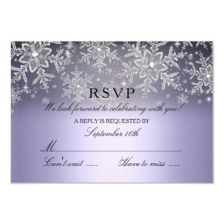 Crystal Snowflake Purple Winter RSVP 3.5x5 Paper Invitation Card