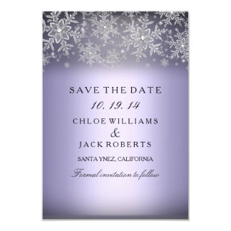Crystal Snowflake Purple Winter Save The Date Card