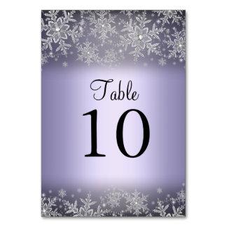 Crystal Snowflake Purple Winter Table Number Card