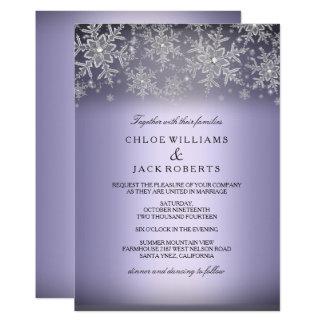 Crystal Snowflake Purple Winter Wedding Invitation