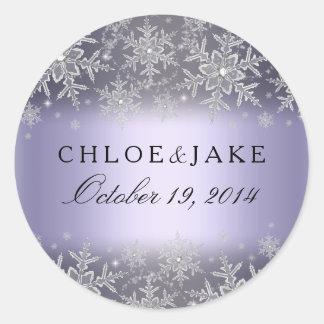 Crystal Snowflake Purple Winter Wedding Sticker