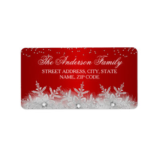 Crystal Snowflake Red Christmas Address Labels